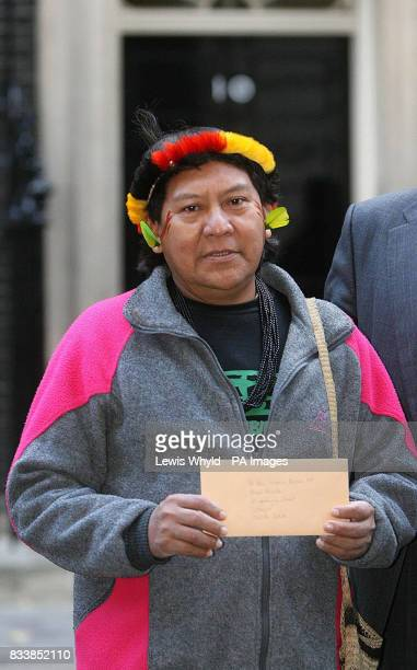 Davi Kopenawa a renowned Yanomami Indian leader from the Brazilian Amazon hands a letter to Downing Street encouraging the signing of the ILO...