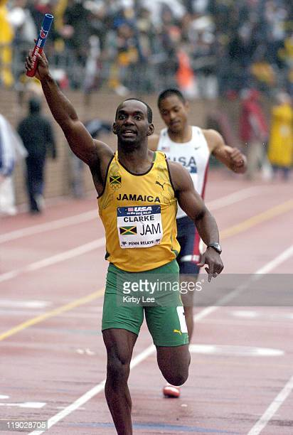 Davian Clarke anchors Jamaica 4 x 400meter relay to victory in 30263 in the USA vsThe World competition in the111th Penn Relays at the University of...