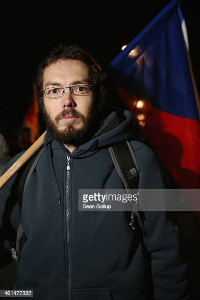 David a participant from Prague at the 12th Pegida protest gathering and stroll said he came because 'I don't agree with Islamism' on January 12 2015...