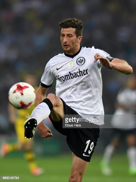 David Abraham of Eintracht Frankfurt in action during the DFB Cup Final match between Eintracht Frankfurt and Borussia Dortmund at Olympiastadion on...