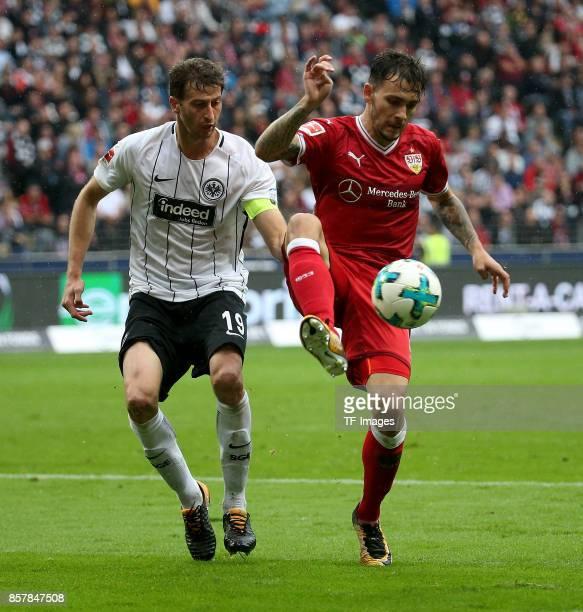 David Abraham of Frankfurt and Anastasios Donis of Stuttgart battle for the ball during the Bundesliga match between Eintracht Frankfurt and VfB...