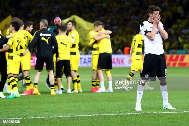 David Abraham of Frankfurt looks dejected after losing the DFB Cup Final 2017 between Eintracht Frankfurt and Borussia Dortmund at Olympiastadion on...