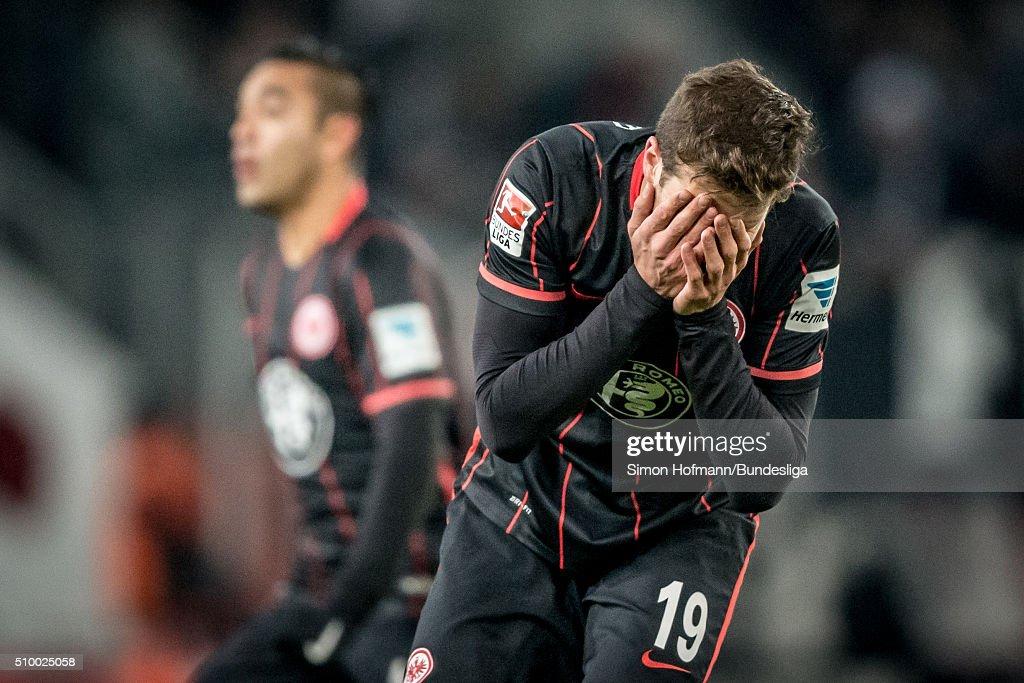 David Abraham of Frankfurt reacts during the Bundesliga match between 1. FC Koeln and Eintracht Frankfurt at RheinEnergieStadion on February 13, 2016 in Cologne, Germany.