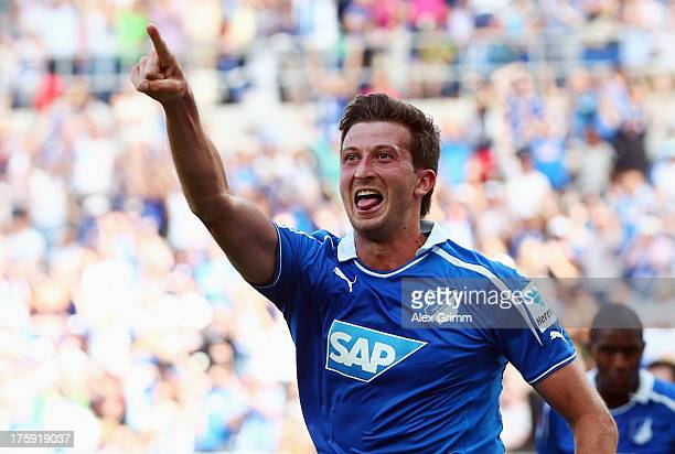 David Abraham of Hoffenheim celebrates his team's first goal during the Bundesliga match between 1899 Hoffenheim and 1 FC Nuernberg on August 10 2013...