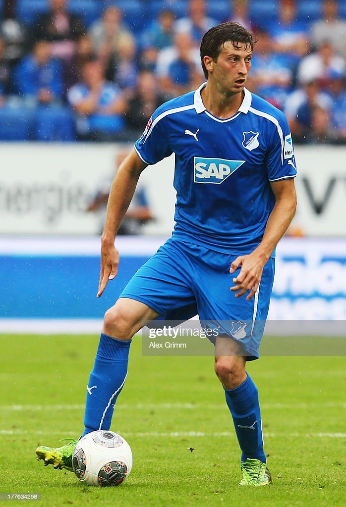 David Abraham of Hoffenheim controles the ball during the Bundesliga match between 1899 Hoffenheim and SC Freiburg at Wirsol Rhein-Neckar-Arena on August 24, 2013 in Sinsheim, Germany.