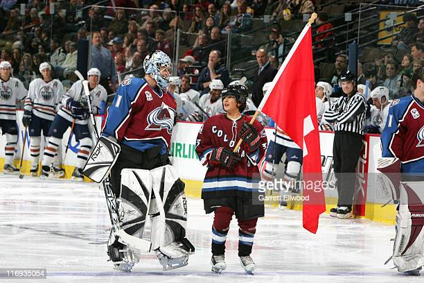 David Aebischer of the Colorado Avalanche during a ceremony to acknowledge olympians prior to the game against the Edmonton Oilers on February 7 2006...