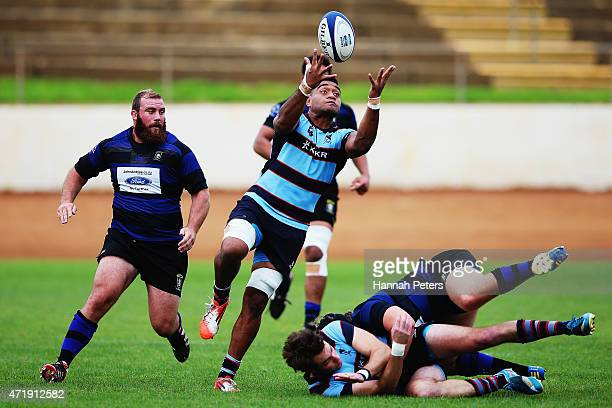 David Afamasaga of Marist collects the ball during the club rugby game between Ponsonby and Marist at Western Springs Stadium on May 2 2015 in...