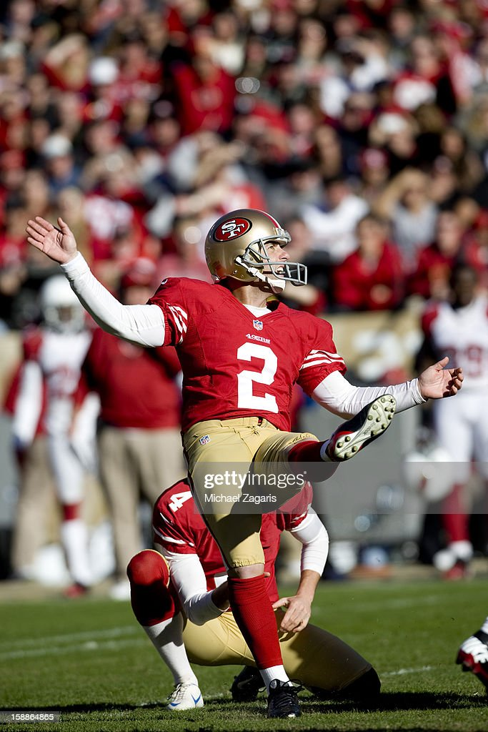 David Akers #2 of the San Francisco 49ers kicks a 40-yard field goal wide left during the game against the Arizona Cardinals at Candlestick Park on December 30, 2012 in San Francisco, California. The 49ers defeated the Cardinals 27-13.