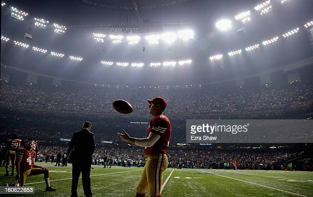 David Akers of the San Francisco 49ers waits during a power outage that occurred in the third quarter that caused a 34minute delay during Super Bowl...