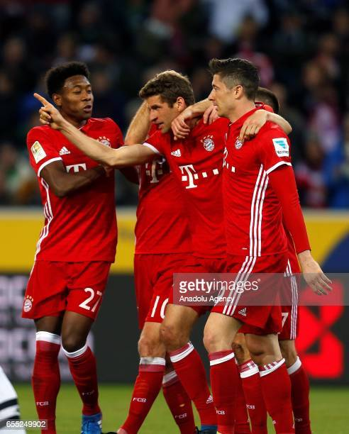 David Alaba Arjen Robben Thomas Mueller and Robert Lewandowski of Bayern Munich celebrate scoring a goal during the Bundesliga Match between Borussia...