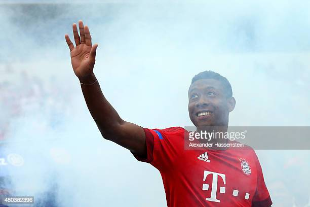David Alaba arrives for the FC Bayern Muenchen season opening and team presentation at Allianz Arena on July 11 2015 in Munich Germany