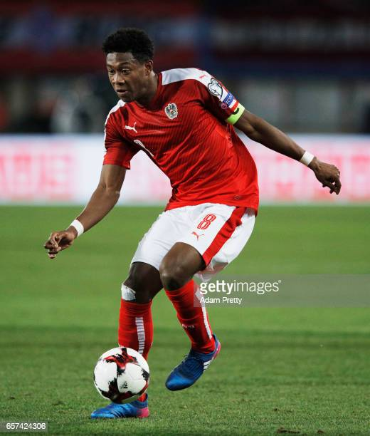 David Alaba captain of Austria in action during the Austria v Moldavia 2018 FIFA World Cup Qualifier match at Ernst Happel Stadion on March 24 2017...