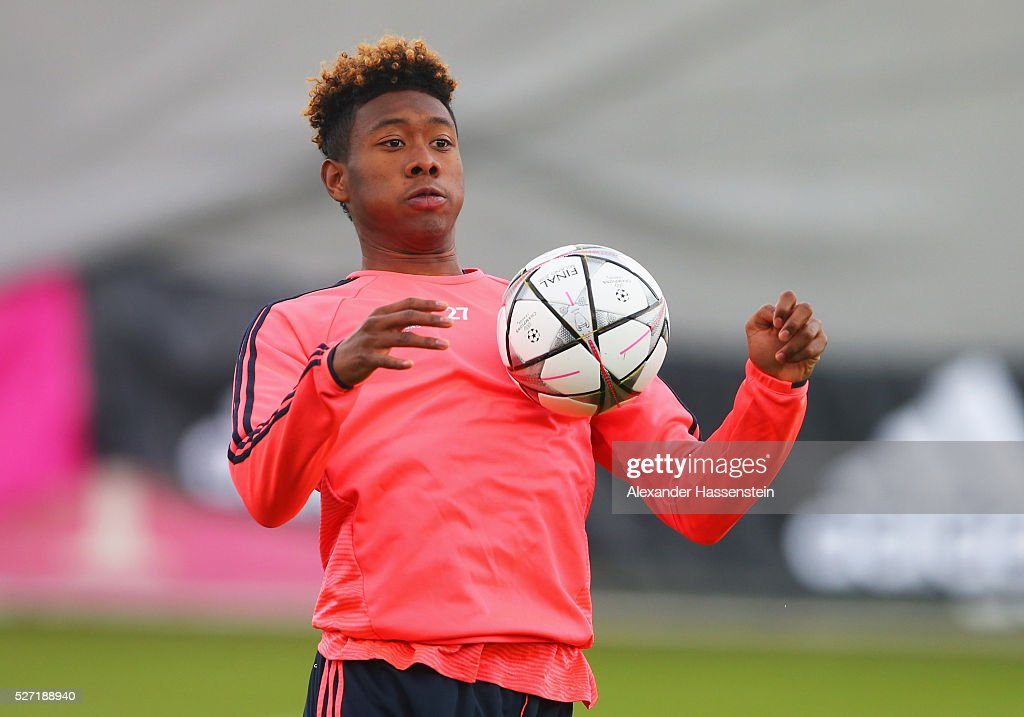 David Alaba controls the ball during a FC Bayern Muenchen training session ahead of their UEFA Champions League semi final second leg match against Club Atletico de Madrid at the Saebener Strasse training ground on May 2, 2016 in Munich, Germany.