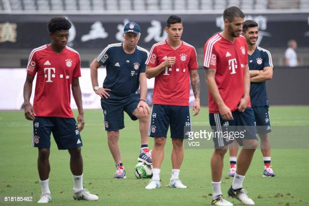 David Alaba head coach Carlo Ancelotti James Rodriguez and Javi Martinez of FC Bayern Muenchen in action during a training session ahead of 2017...