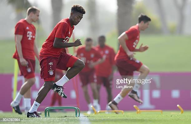 David Alaba is seen during a training session at day five of the Bayern Muenchen training camp at Aspire Academy on January 10 2016 in Doha Qatar