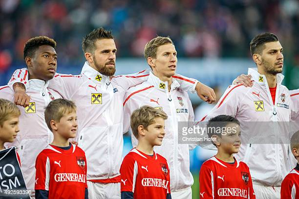 David Alaba Martin Harnik Florian Klein and Aleksandar Dragovic of Austria line up during the national anthem prior to the UEFA EURO 2016 Qualifier...
