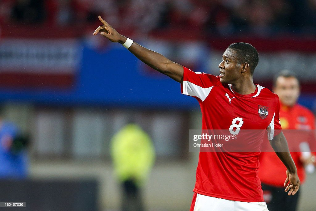 David Alaba of Austria celebrates after winning the FIFA World Cup 2014 Group C qualification match between Austria and the Republic of Ireland at...