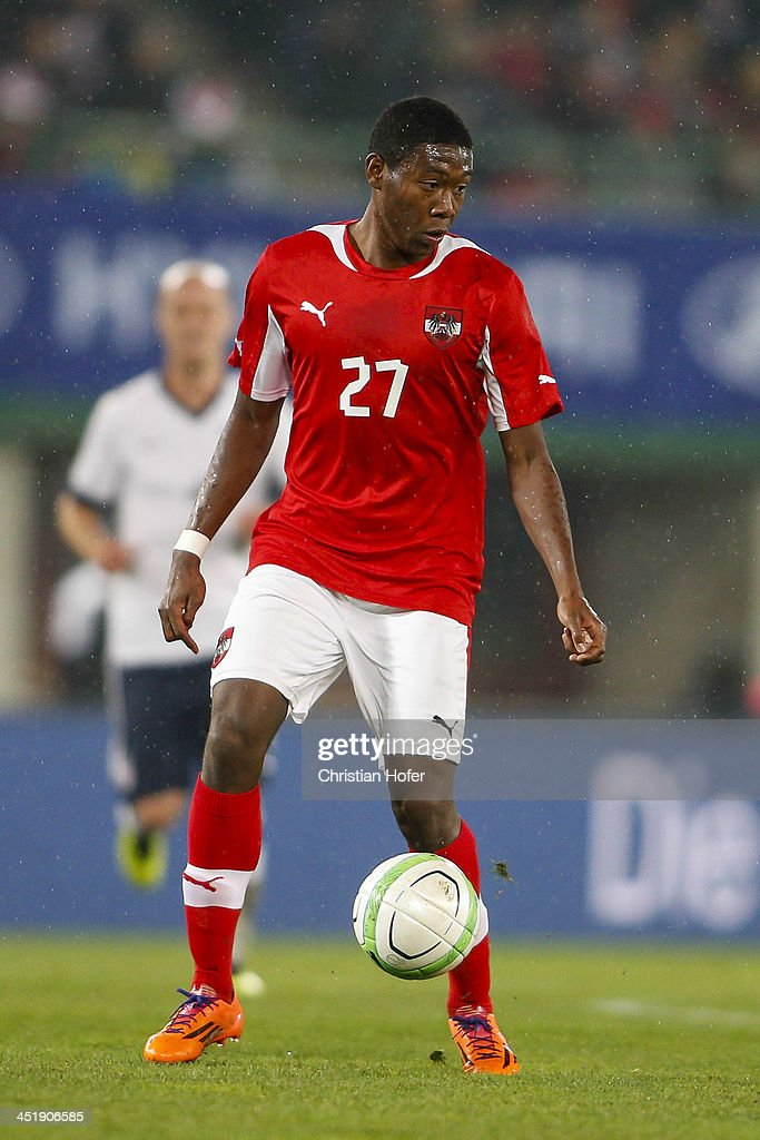 David Alaba of Austria controls the ball during the International friendly match between Austria and USA at the ErnstHappel Stadium on November 19...