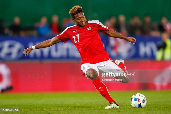 David Alaba of Austria controls the ball during the international friendly match between Austria and Turkey at ErnstHappelStadium on March 29 2016 in...