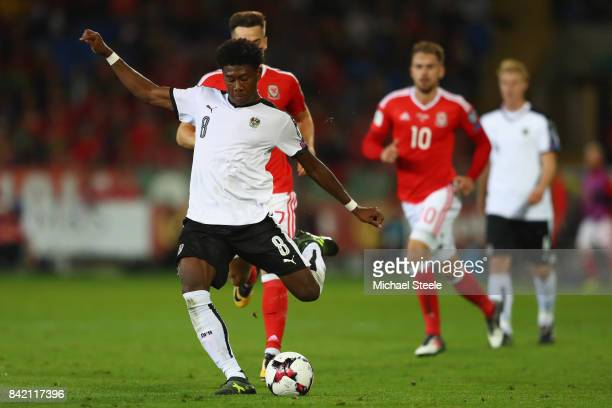 David Alaba of Austria during the FIFA 2018 World Cup Qualifier Group D match between Wales and Austria at Cardiff City Stadium on September 2 2017...