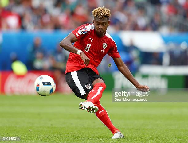 David Alaba of Austria in action during the UEFA EURO 2016 Group F match between Austria and Hungary at Stade Matmut Atlantique on June 14 2016 in...