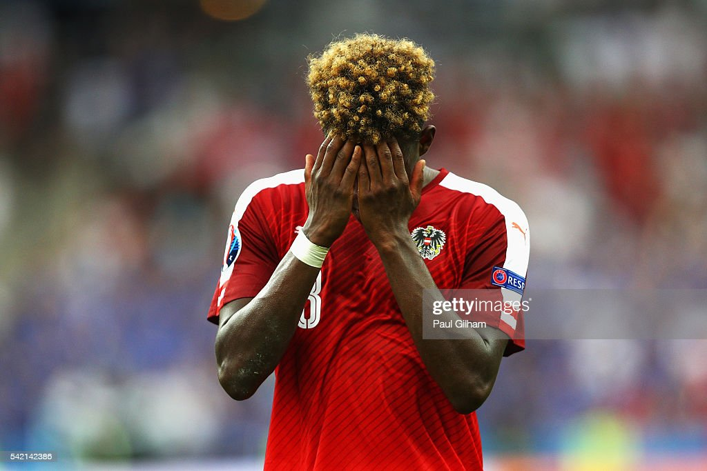 <a gi-track='captionPersonalityLinkClicked' href=/galleries/search?phrase=David+Alaba&family=editorial&specificpeople=5494608 ng-click='$event.stopPropagation()'>David Alaba</a> of Austria is dejected are defeat in the UEFA EURO 2016 Group F match between Iceland and Austria at Stade de France on June 22, 2016 in Paris, France.