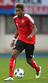 David Alaba of Austria runs with the ball during the international friendly match between Austria and Albania at the Ernst Happel Stadium on March 26...