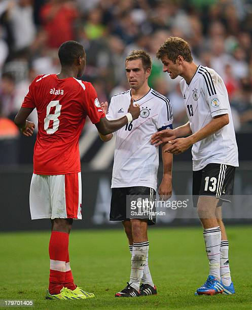 David Alaba of Austria with FC Bayern Muenchen teamates Philipp Lahm and Thomas Mueller during the FIFA 2014 world cup qualifier match between...