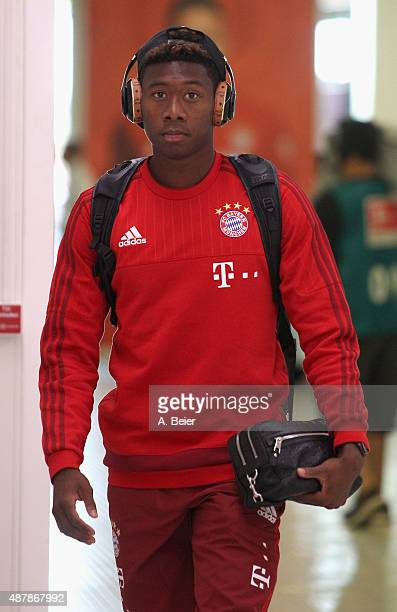 David Alaba of Bayern Muenchen arrives for the Bundesliga match between FC Bayern Muenchen and FC Augsburg at Allianz Arena on September 12 2015 in...