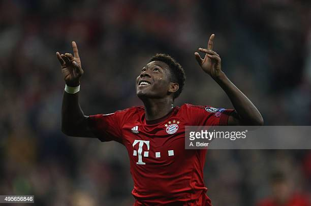 David Alaba of Bayern Muenchen celebrates his first goal against Arsenal FC during the UEFA Champions League Group F match between Arsenal FC and FC...
