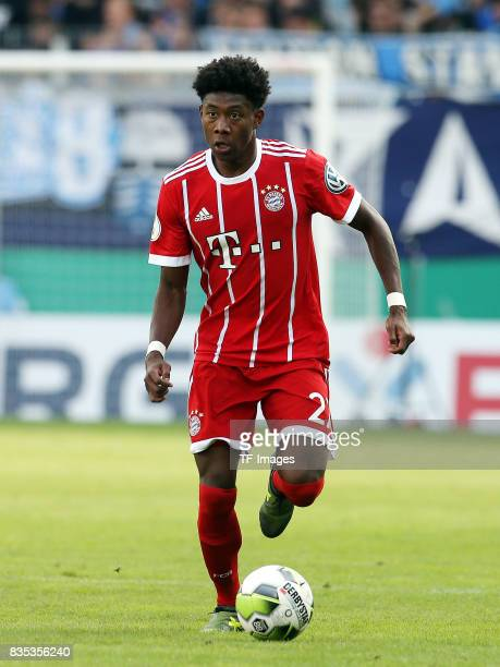 David Alaba of Bayern Muenchen controls the ball during the DFB Cup first round match between Chemnitzer FC and FC Bayern Muenchen at community4you...