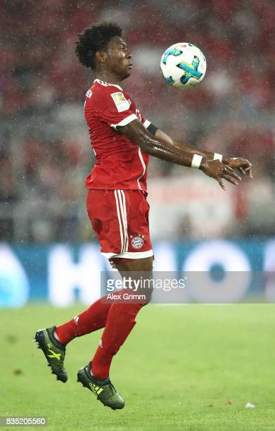 David Alaba of Bayern Muenchen during the Bundesliga match between FC Bayern Muenchen and Bayer 04 Leverkusen at Allianz Arena on August 18 2017 in...