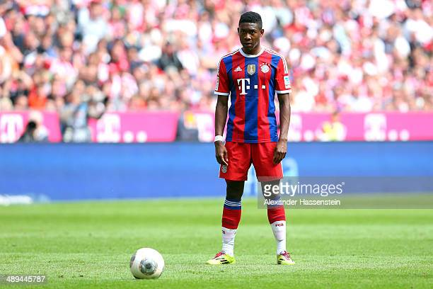 David Alaba of Bayern Muenchen looks on during the Bundesliga match between Bayern Muenchen and VfB Stuttgart at Allianz Arena on May 10 2014 in...