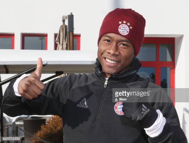 David Alaba of FC Bayern Muenchen arrives for a training session at the club's Saebener Strasse training ground on February 14 2017 in Munich Germany...
