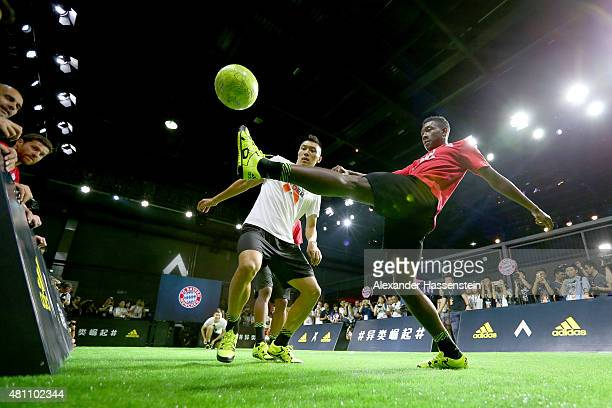 David Alaba of FC Bayern Muenchen attends a adidas 2 vs 2 urban football match promotion even at Beijing Film Director Center during day 1 of the FC...