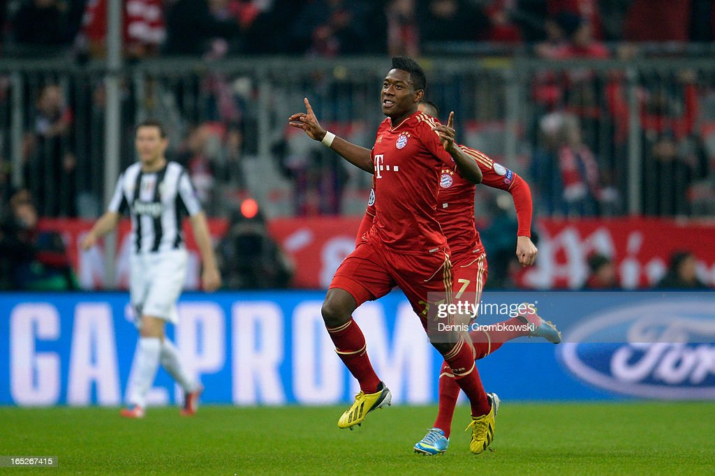 David Alaba of FC Bayern Muenchen celebrates after scoring the opening goal during the UEFA Champions League quarter final first leg match between FC Bayern Muenchen and Juventus at Allianz Arena on April 2, 2013 in Munich, Germany.