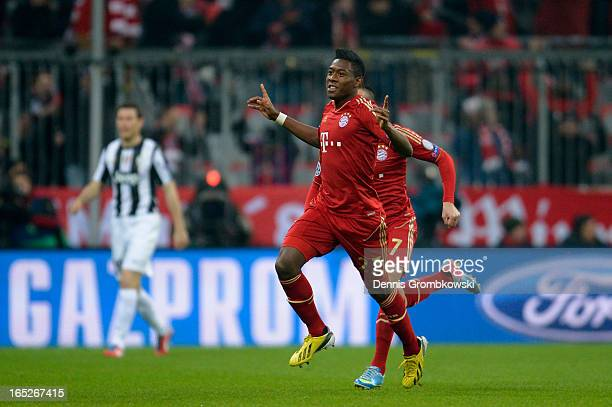 David Alaba of FC Bayern Muenchen celebrates after scoring the opening goal during the UEFA Champions League quarter final first leg match between FC...