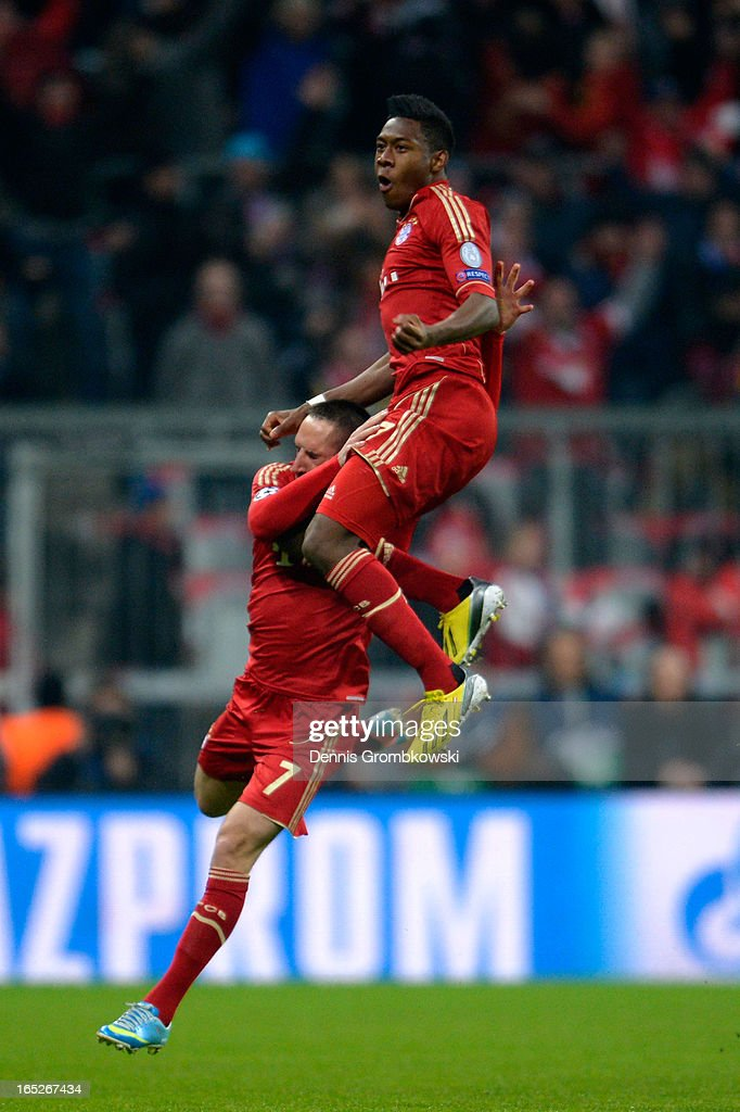 David Alaba of FC Bayern Muenchen celebrates with teammate Franck Ribery #7 after scoring the opening goal during the UEFA Champions League quarter final first leg match between FC Bayern Muenchen and Juventus at Allianz Arena on April 2, 2013 in Munich, Germany.