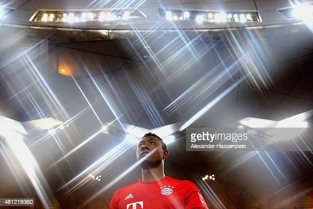 David Alaba of FC Bayern Muenchen enters the field for the international friendly match between FC Bayern Muenchen and Valencia FC of the Audi...