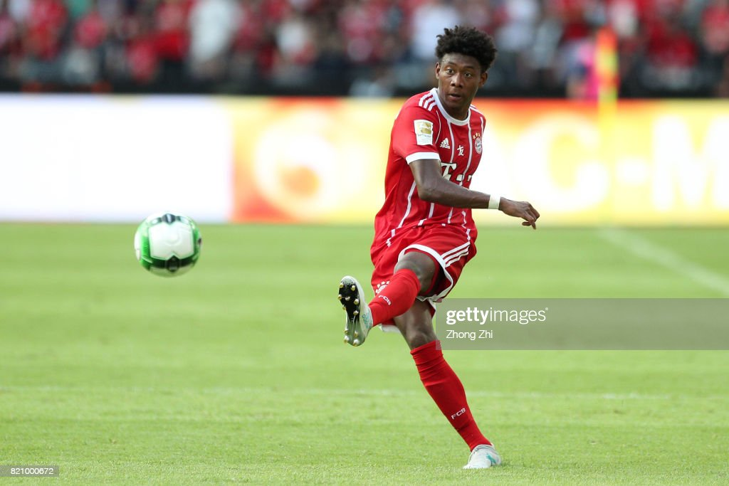 David Alaba of FC Bayern Muenchen in acion during the 2017 International Champions Cup football match between AC Milan and FC Bayern Muenchen on July 22, 2017 in Shenzhen, China.