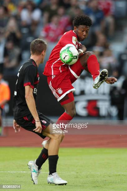 David Alaba of FC Bayern Muenchen in action against Andrea Conti of AC Milan during the 2017 International Champions Cup football match between AC...