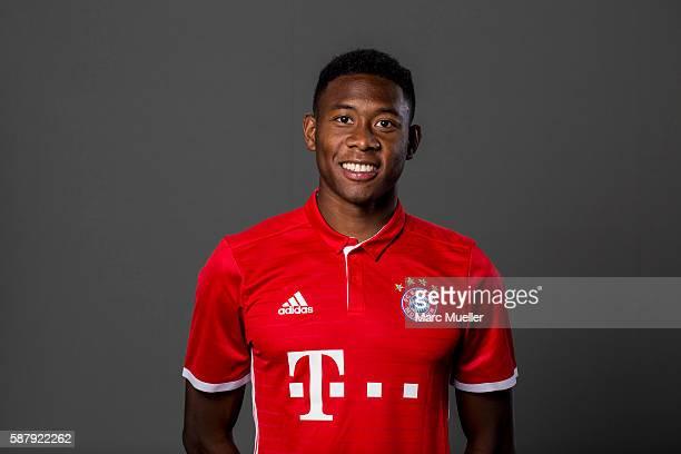 David Alaba of FC Bayern Munich pose during the team presentation on August 10 2016 in Munich Germany