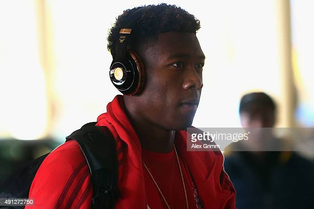 David Alaba of Muenchen arrives at the stadium prior to the Bundesliga match between FC Bayern Muenchen and Borussia Dortmund at Allianz Arena on...