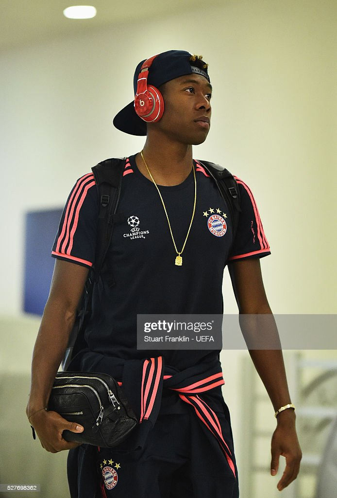 <a gi-track='captionPersonalityLinkClicked' href=/galleries/search?phrase=David+Alaba&family=editorial&specificpeople=5494608 ng-click='$event.stopPropagation()'>David Alaba</a> of Muenchen arrives before the UEFA Champions League Semi Final second leg match between FC Bayern Muenchen and Club Atletico de Madrid at the Allianz Arena on May 03, 2016 in Munich, Bavaria.
