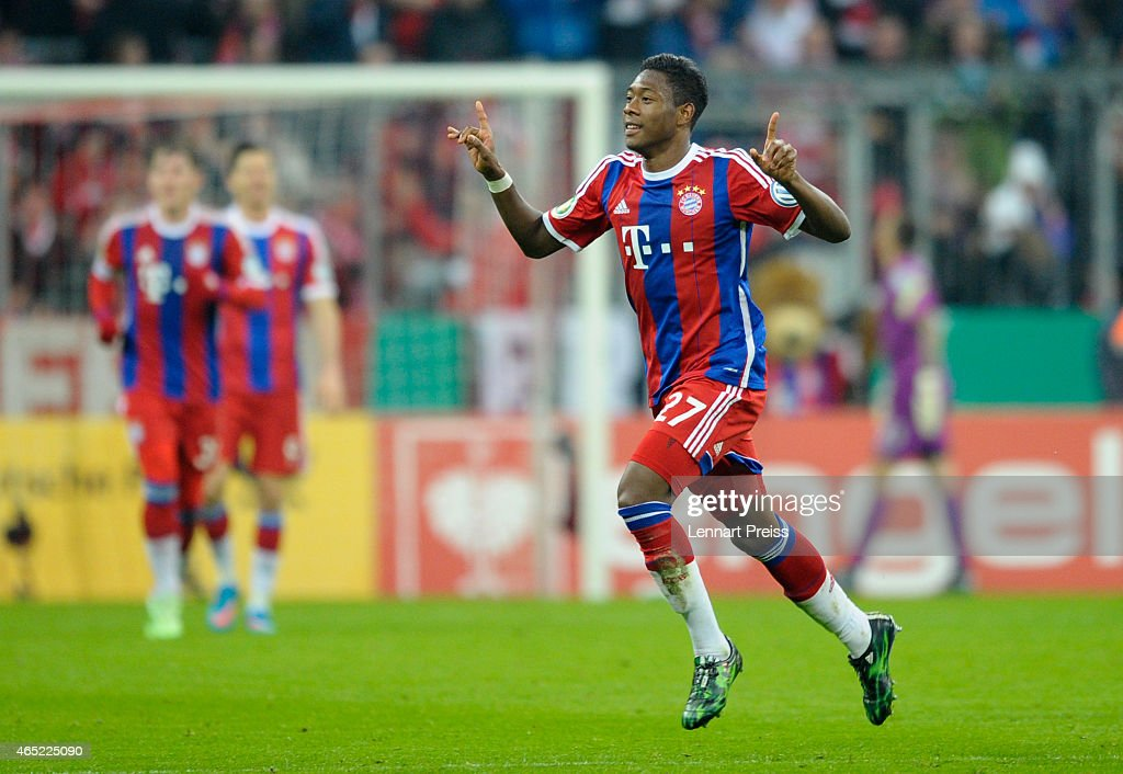 <a gi-track='captionPersonalityLinkClicked' href=/galleries/search?phrase=David+Alaba&family=editorial&specificpeople=5494608 ng-click='$event.stopPropagation()'>David Alaba</a> of Muenchen celebrates his goal during the DFB Cup round of sixteen match between FC Bayern Muenchen and Eintracht Braunschweig at Allianz Arena on March 4, 2015 in Munich, Germany.