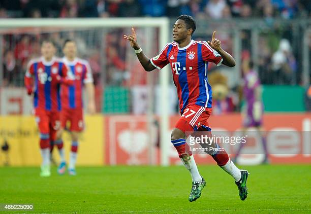 David Alaba of Muenchen celebrates his goal during the DFB Cup round of sixteen match between FC Bayern Muenchen and Eintracht Braunschweig at...