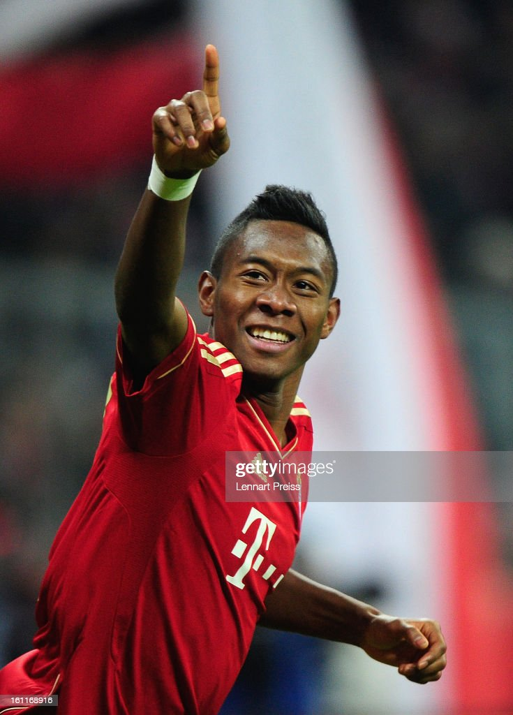 David Alaba of Muenchen celebrates his second goal during the Bundesliga match between FC Bayern Muenchen and FC Schalke 04 at Allianz Arena on...