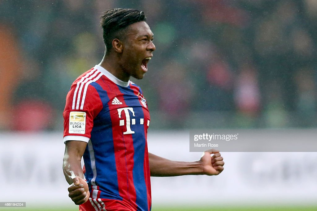 <a gi-track='captionPersonalityLinkClicked' href=/galleries/search?phrase=David+Alaba&family=editorial&specificpeople=5494608 ng-click='$event.stopPropagation()'>David Alaba</a> of Muenchen celebrates scoring the 2nd goal during the Bundesliga match between SV Werder Bremen and FC Bayern Muenchen at Weserstadion on March 14, 2015 in Bremen, Germany.