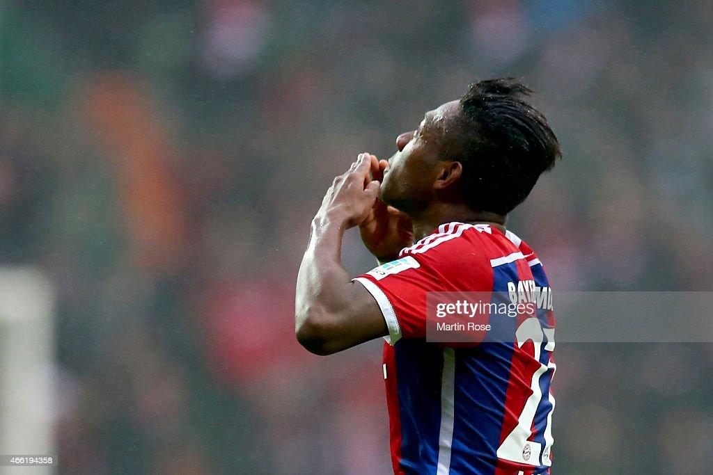David Alaba of Muenchen celebrates scoring the 2nd goal during the Bundesliga match between SV Werder Bremen and FC Bayern Muenchen at Weserstadion...