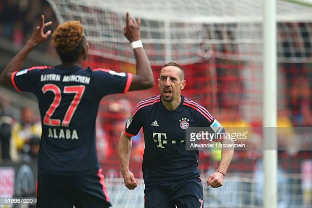 David Alaba of Muenchen celebrates scoring the 2nd team goal with his team mate Franck Ribery during the Bundesliga match between VfB Stuttgart and...